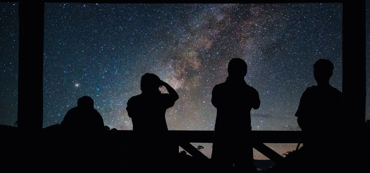 Four people stargazing silhouetted against the milky way